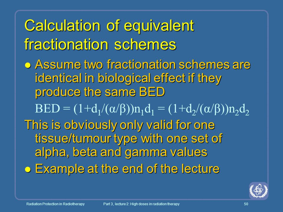Calculation of equivalent fractionation schemes