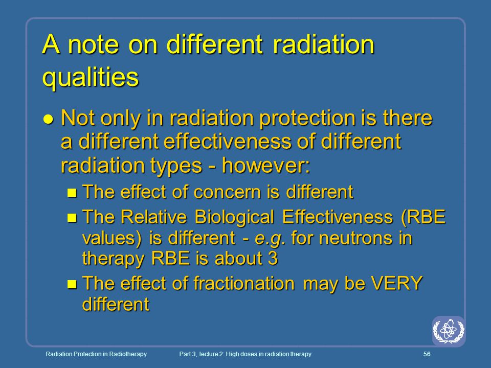 A note on different radiation qualities