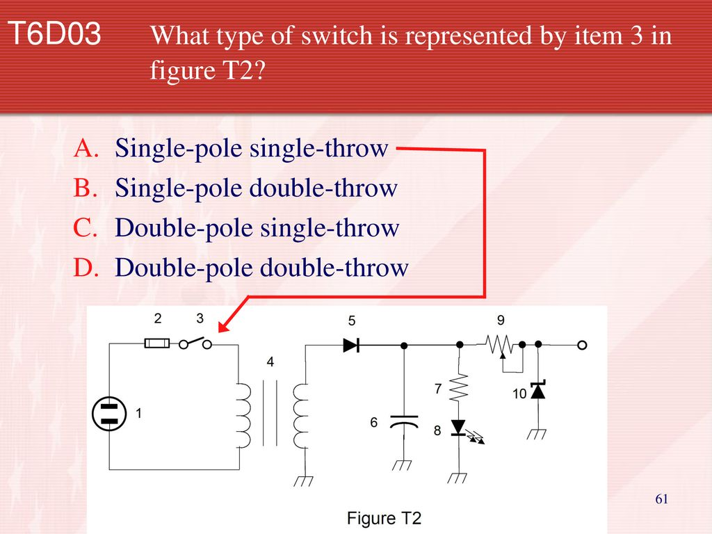 Technician Licensing Class Ppt Download Doublepolesinglethrow Switch D Doublepoledoublethrow T6d03 What Type Of Is Represented By Item 3 In Figure T2