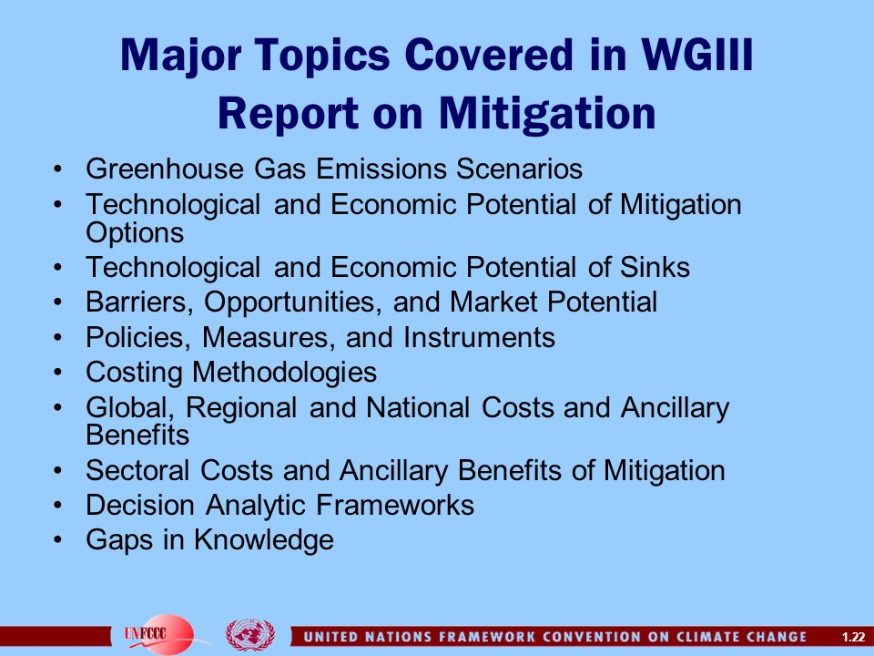 Major Topics Covered in WGIII Report on Mitigation