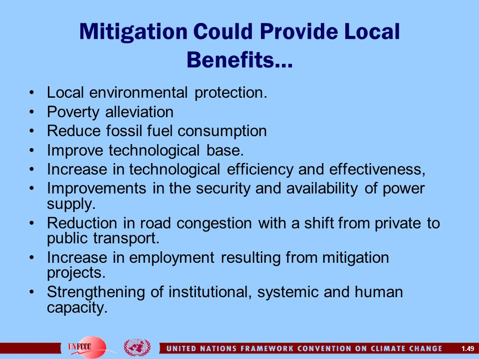 Mitigation Could Provide Local Benefits…