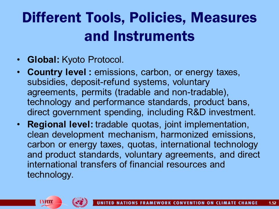 Different Tools, Policies, Measures and Instruments