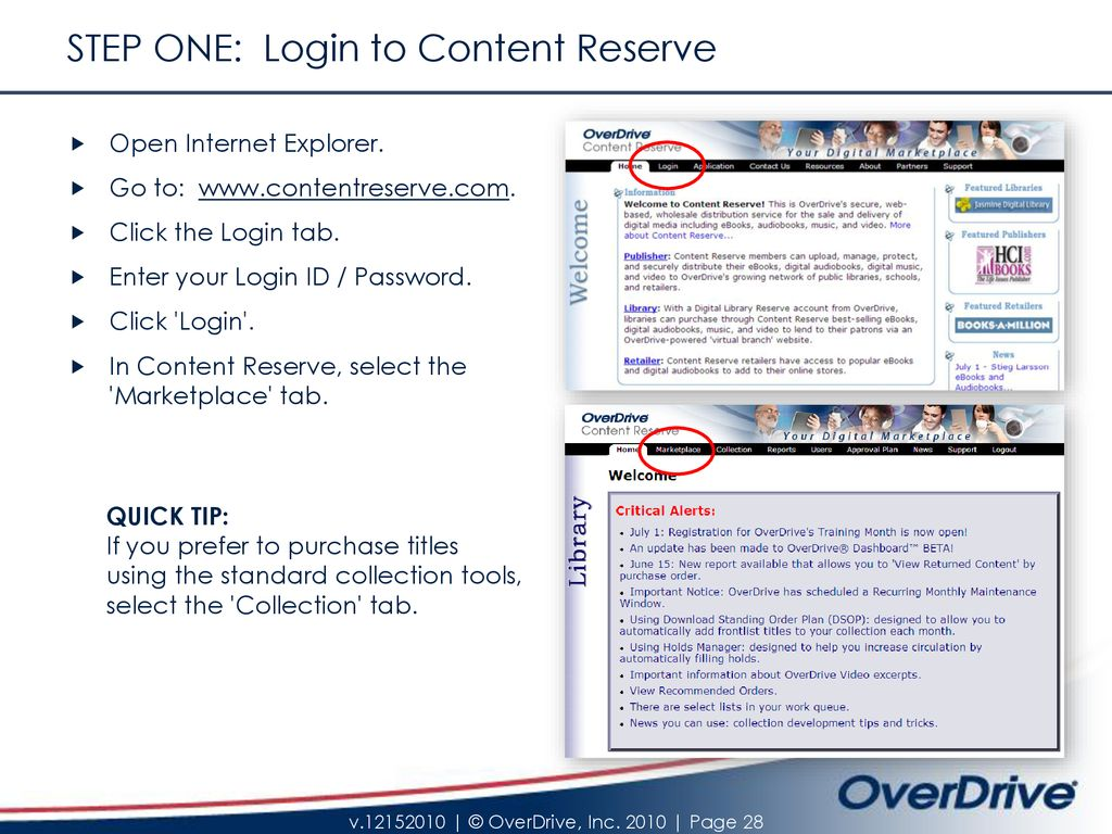 Content Reserve 'Marketplace' – Reference Guide - ppt download