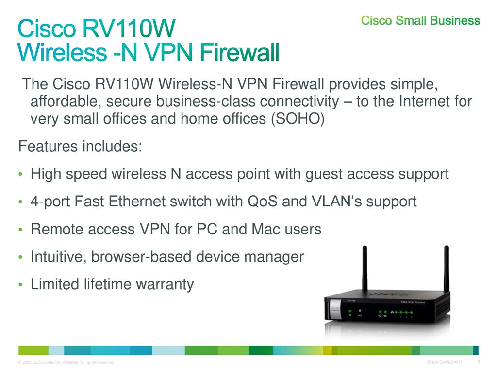 Cisco RV110W Wireless-N VPN Firewall Partner Launch - ppt