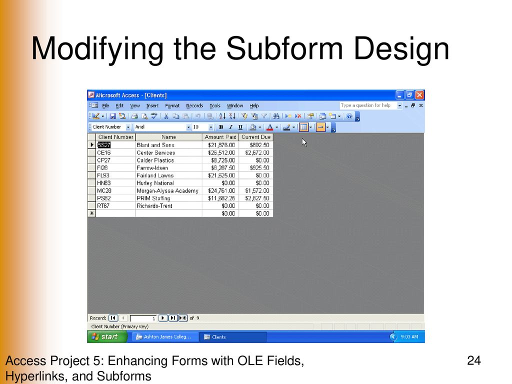 Enhancing Forms with OLE Fields, Hyperlinks, and Subforms