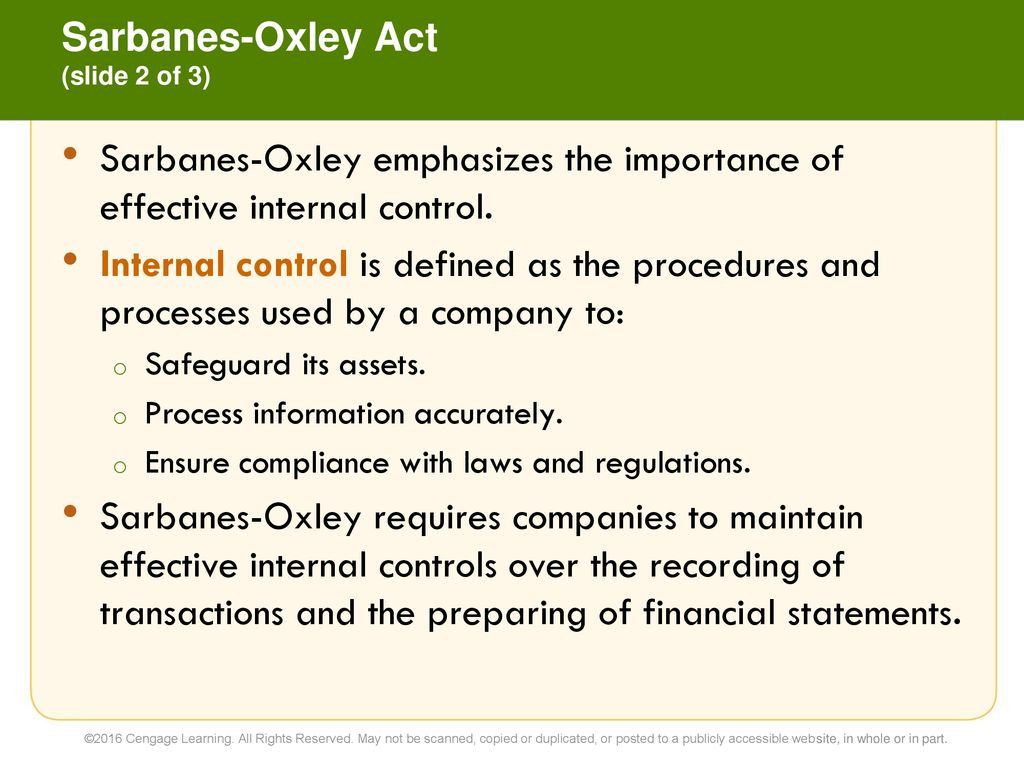 8 sarbanes-oxley, internal control, and cash financial accounting
