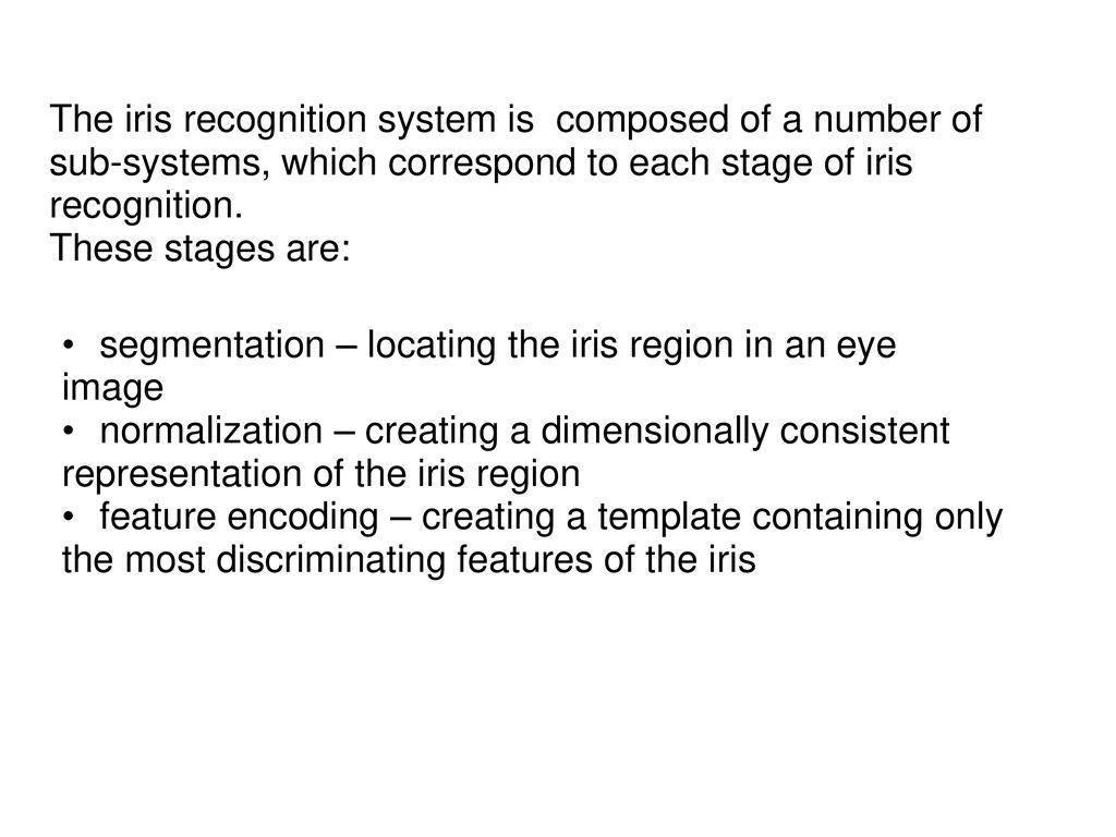 Study Of Iris Recognition Schemes(Interim - Power Point