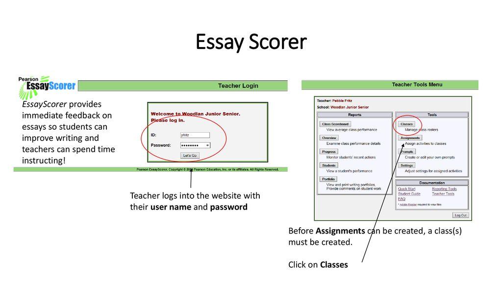 Essay Scorer EssayScorer provides immediate feedback on essays so ...