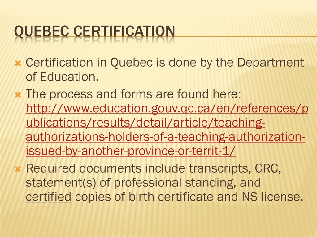 An Introduction To Teacher Certification Outside Nova Scotia Ppt