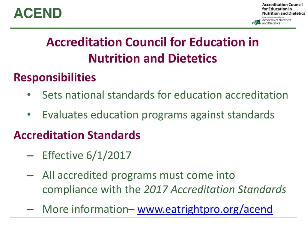 Transitioning Programs to Meet New CDR and ACEND Standards