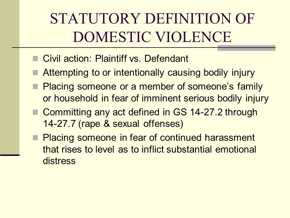 STATUTORY DEFINITION OF DOMESTIC VIOLENCE