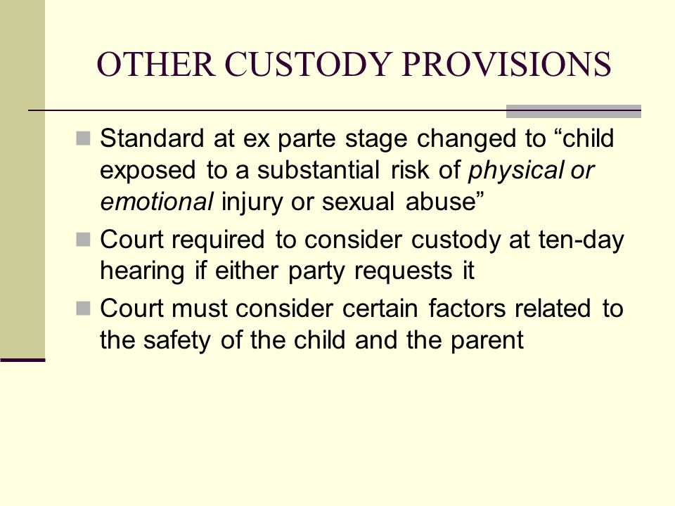 OTHER CUSTODY PROVISIONS