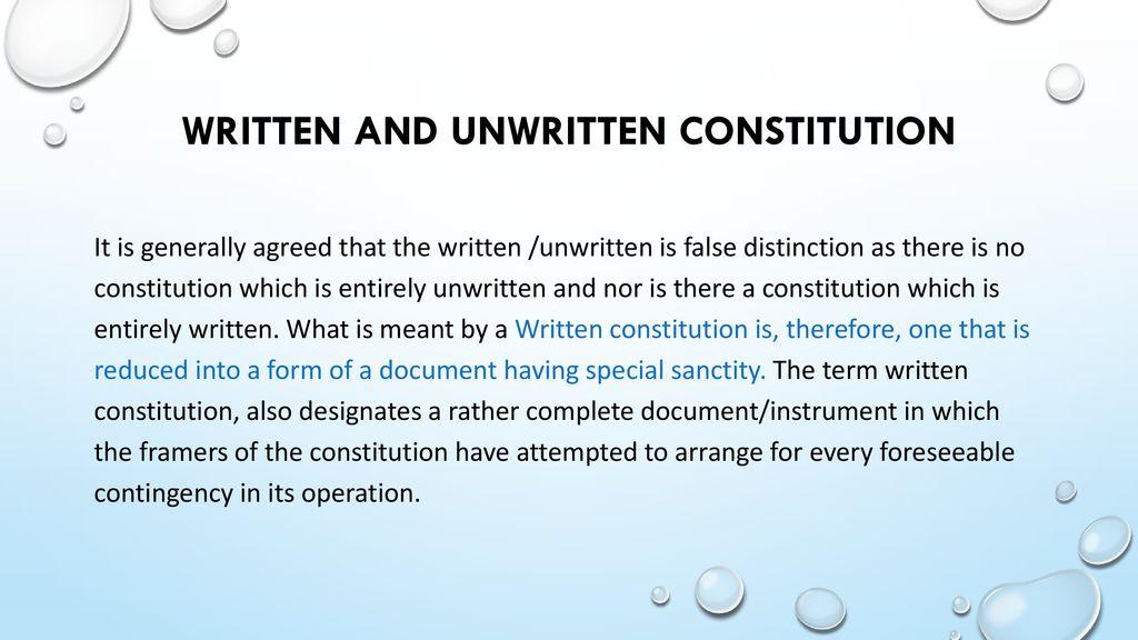 written and unwritten constitution