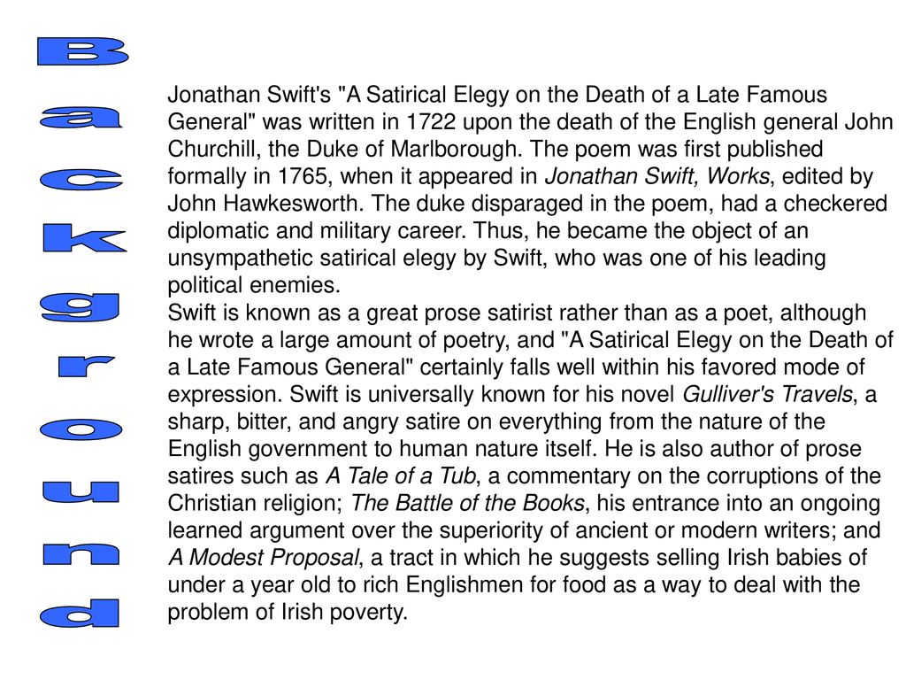 A Satirical Elegy On The Death Of A Late Famous General Ppt Download