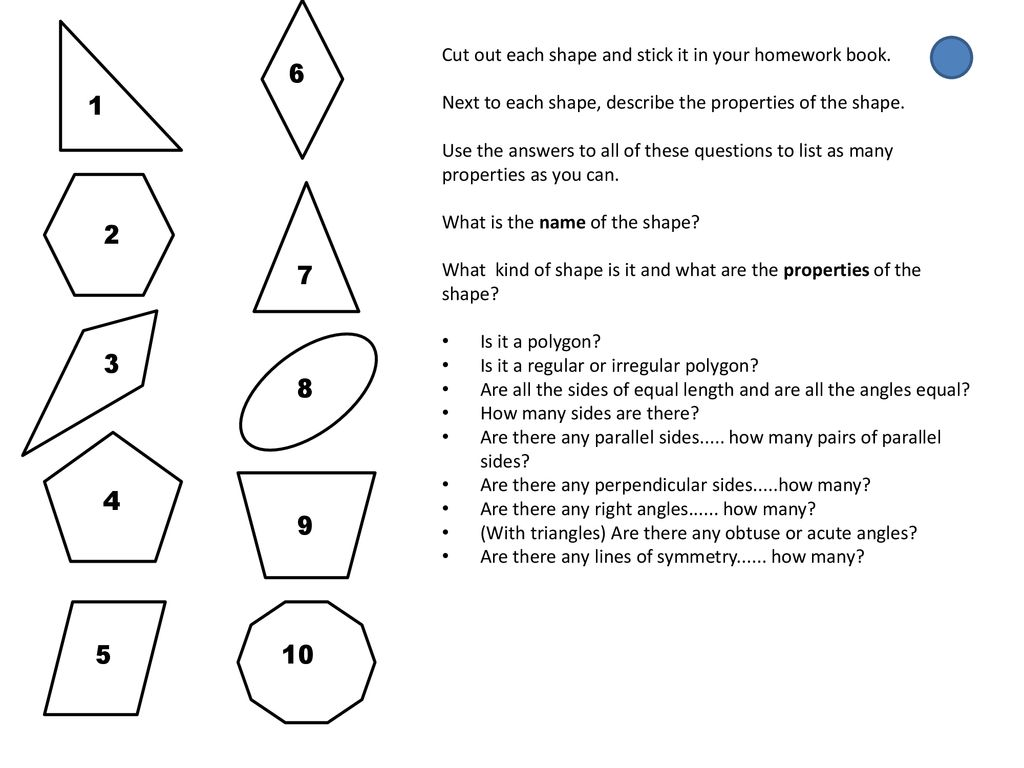 Cut out each shape and stick it in your homework book  - ppt