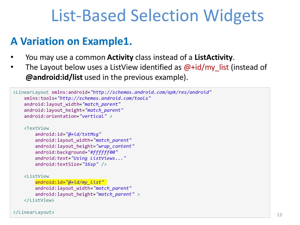 Android List-Based Selection Widgets - ppt download