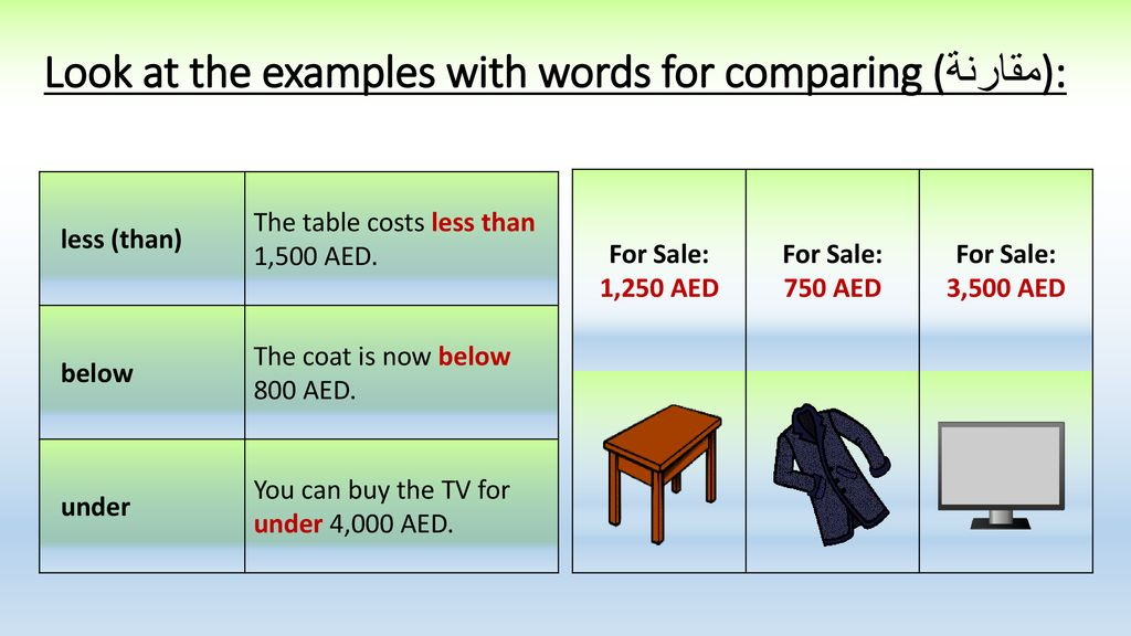 more words for comparing مقارنة ppt download
