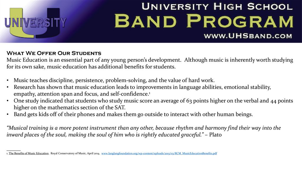 Band Together with University High School - ppt download