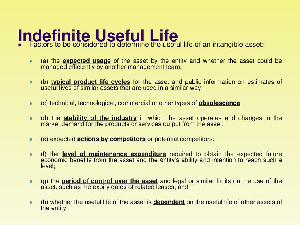 How to determine the useful life 22