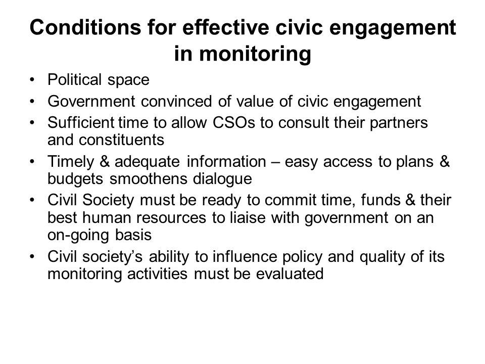 Conditions for effective civic engagement in monitoring