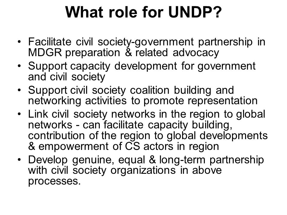 What role for UNDP Facilitate civil society-government partnership in MDGR preparation & related advocacy.