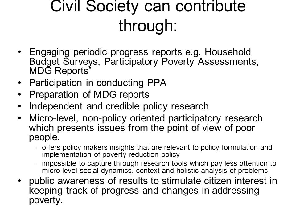 Civil Society can contribute through:
