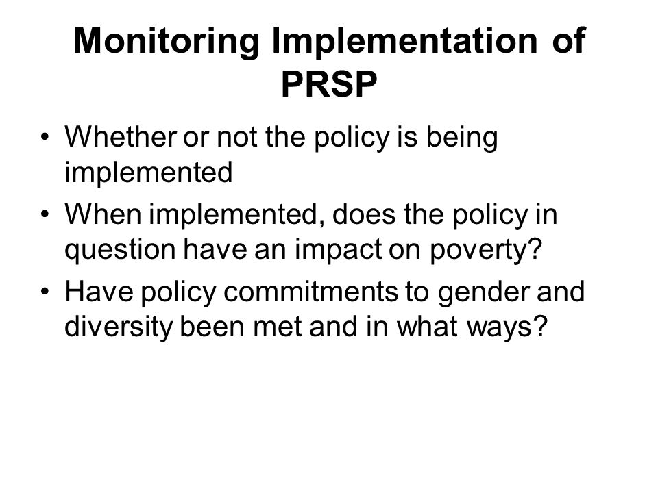 Monitoring Implementation of PRSP
