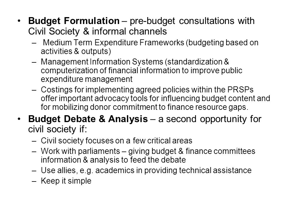 Budget Debate & Analysis – a second opportunity for civil society if: