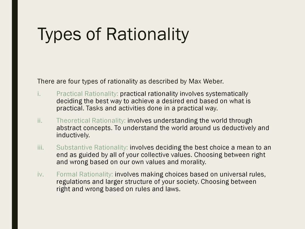 substantive rationality weber