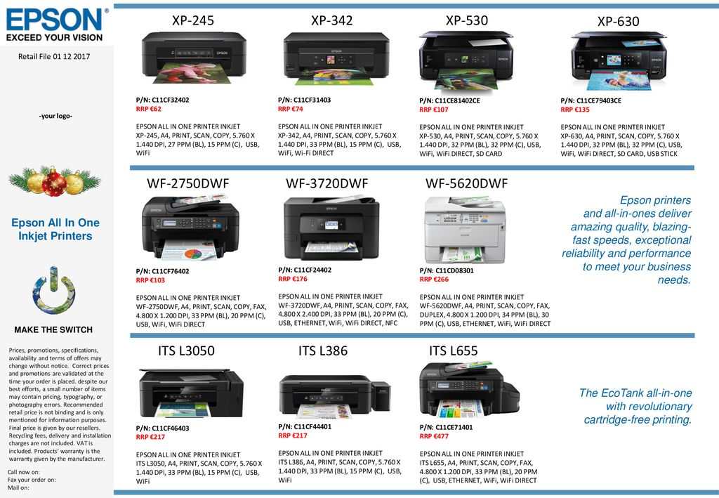 Epson All In One Inkjet Printers - ppt download