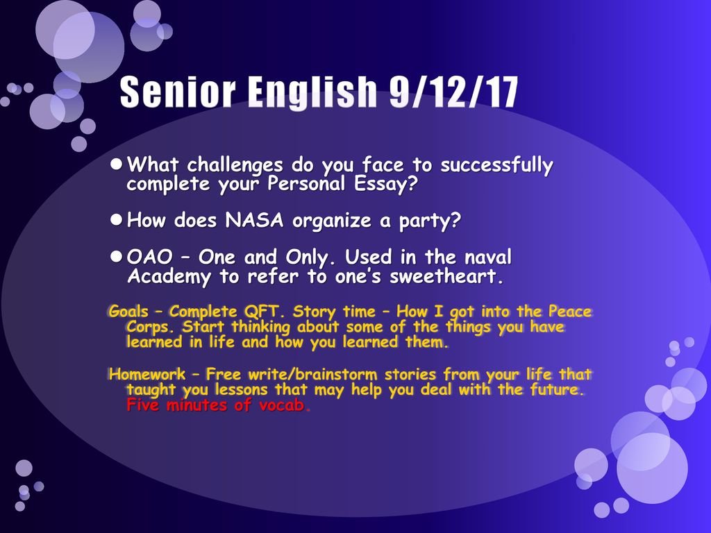 Senior English 9/11/17 What does it take to have a good conversation