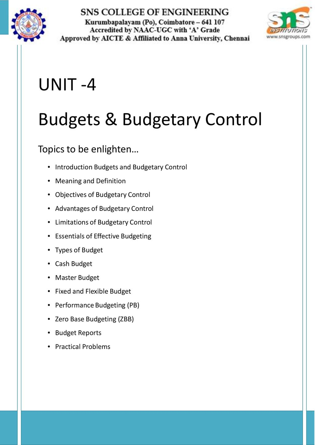 Budgets & Budgetary Control - ppt download