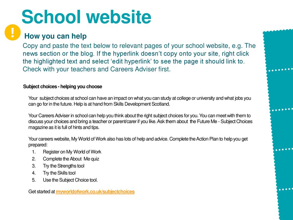 Choosing a school, preparing for it: a selection of sites