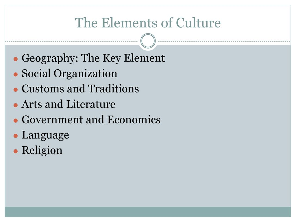 20 Elements of Culture.   ppt download