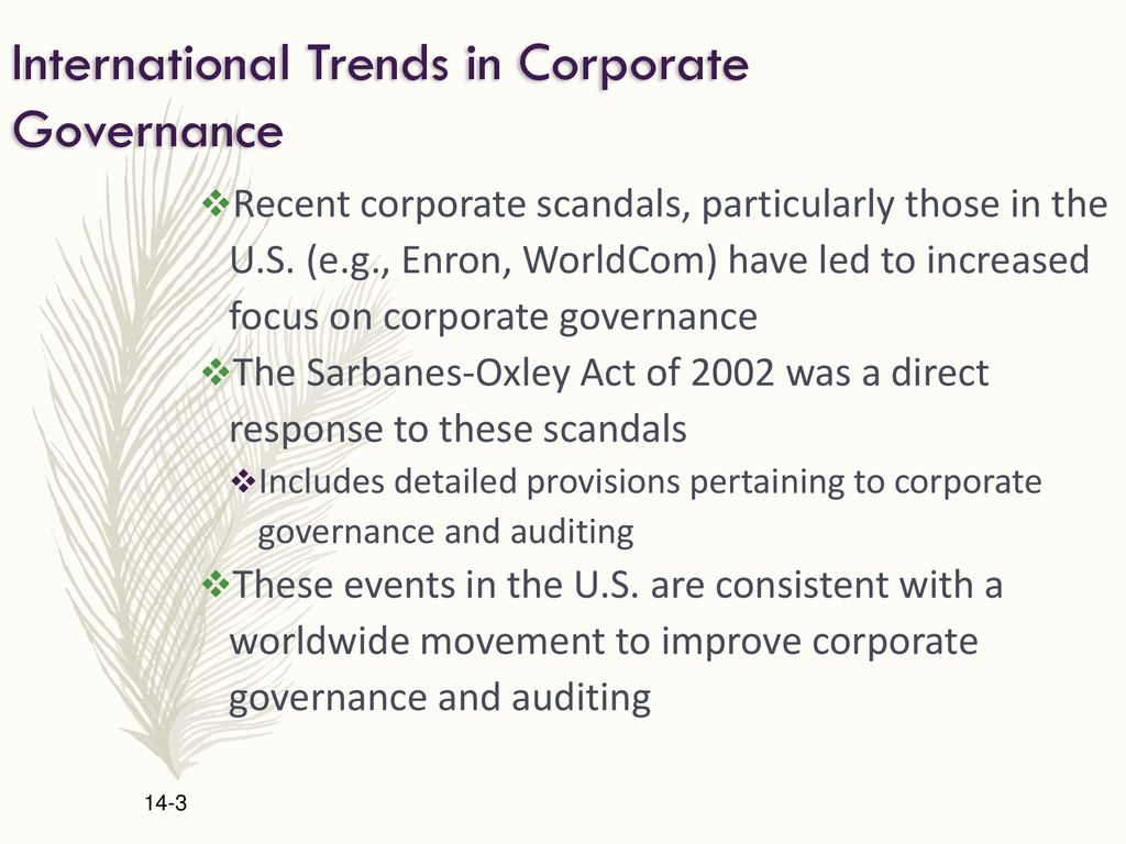 Chapter Topics Recent Trends In International Corporate Governance