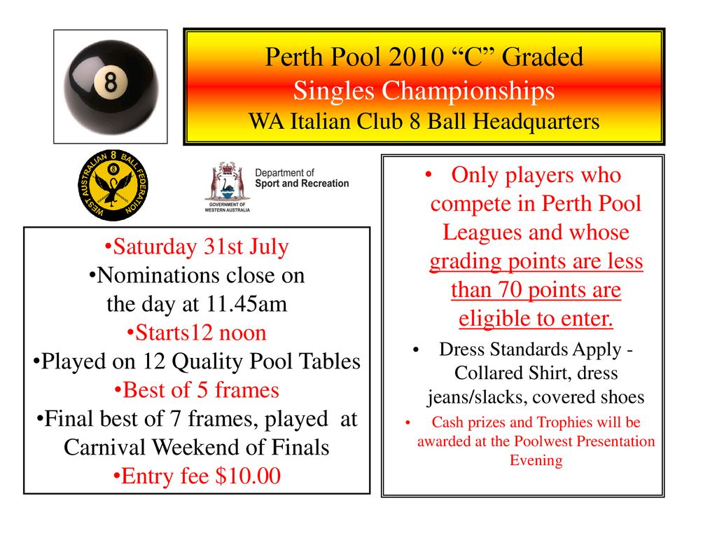 "Perth Pool 2010 ""C"" Graded Singles Championships WA Italian"
