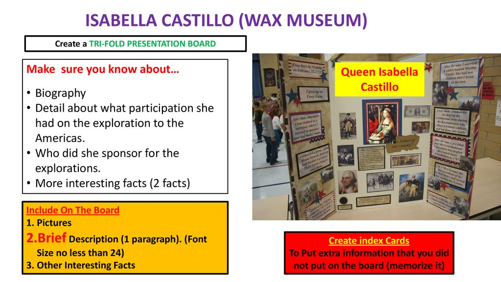 christopher columbus wax museum create a tri fold presentation board