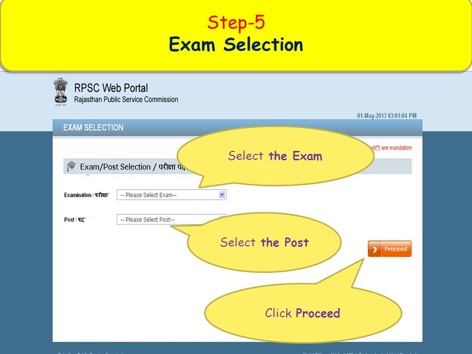 Step-5 Exam Selection Select the Exam Select the Post Click Proceed