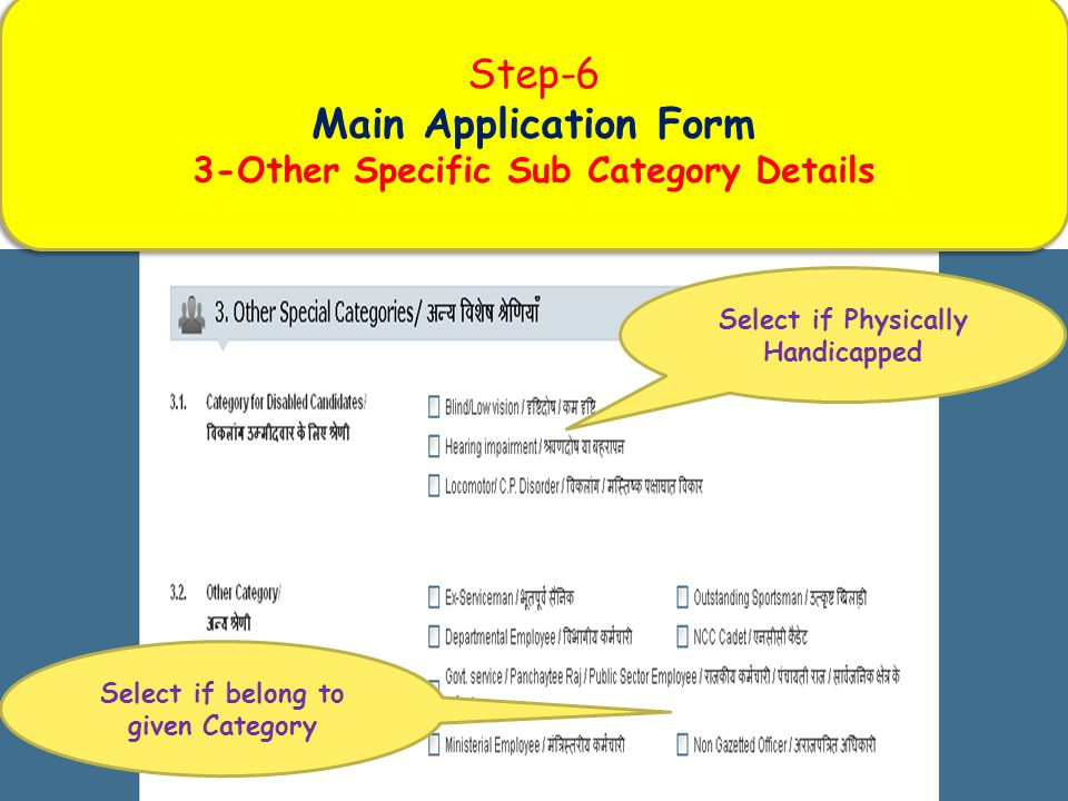 Step-6 Main Application Form 3-Other Specific Sub Category Details