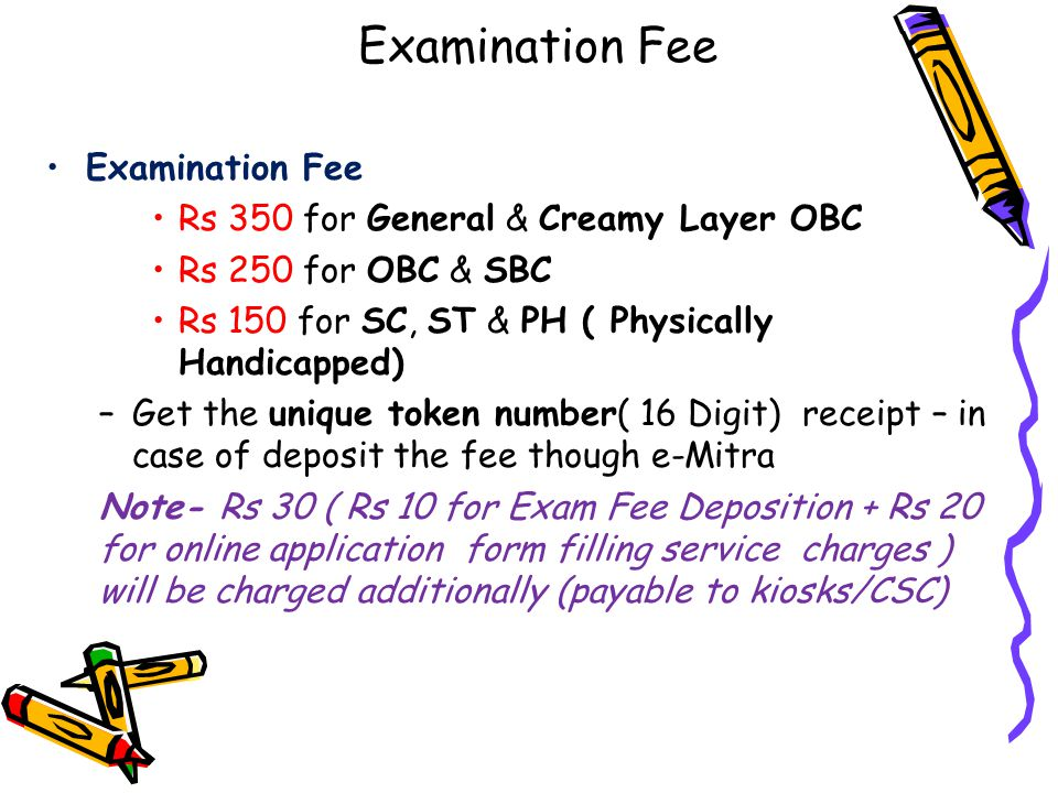 Examination Fee Examination Fee Rs 350 for General & Creamy Layer OBC