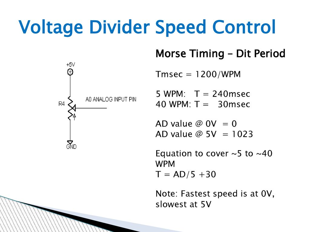 Arduino And The Radio Amateur Ppt Download Voltage Divider Controlling Speed Control