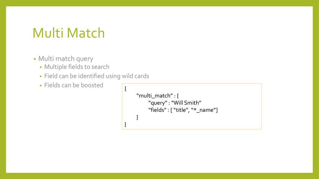Elasticsearch Multi Match Filter