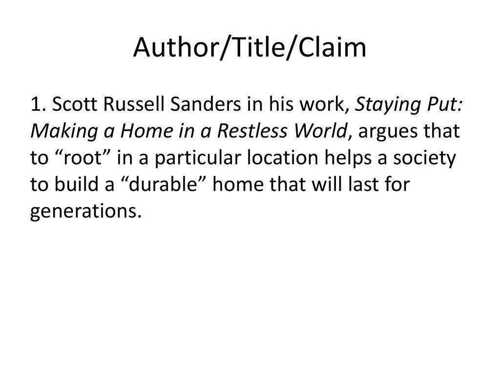staying put scott russell sanders