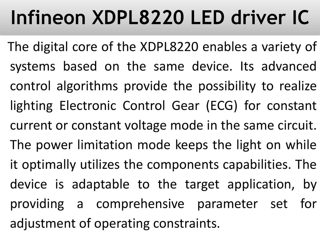 Infineon Xdpl8220 Led Driver Ic Ppt Download Circuit For