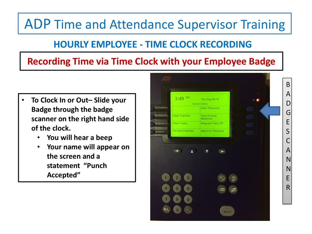 ADP Time and Attendance SUPERVISOR PRESENTATION Recording Time