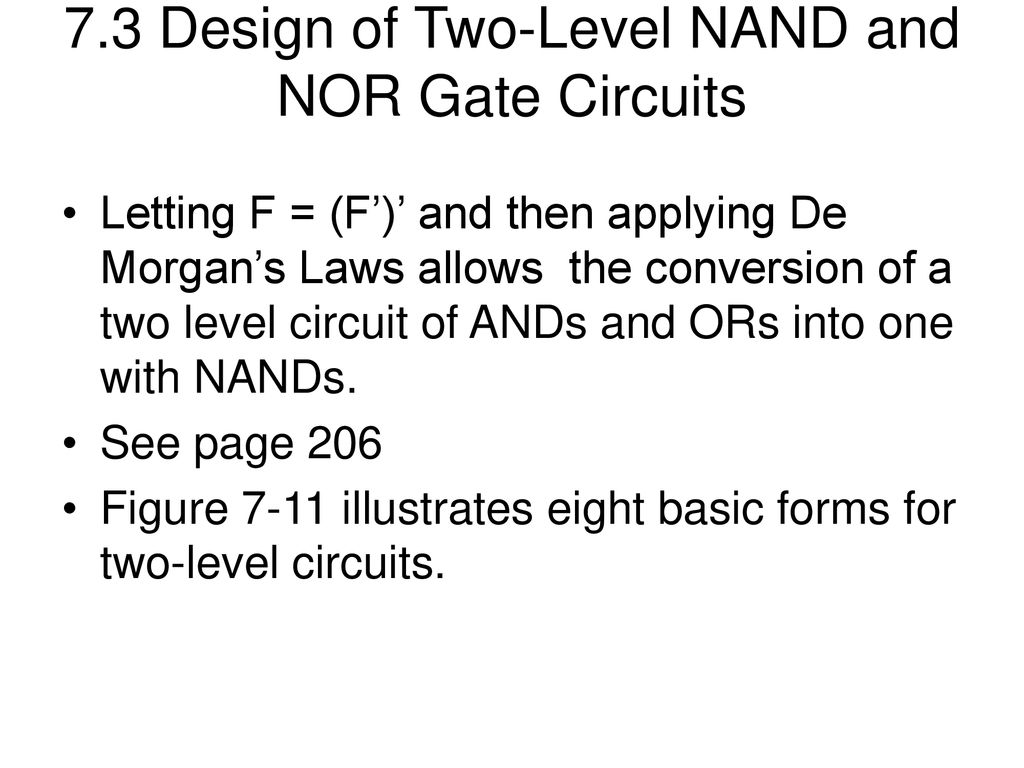 From Fundamentals Of Logic Design By Roth And Kinney Ppt Download Nor Gate Diagram 73 Two Level Nand Circuits