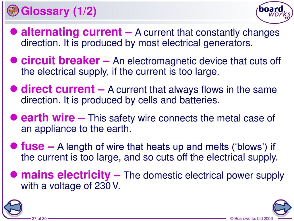 What Is Direct Current Dc An Electric House Wiring Glossary Earth Wire This Safety Connects The Metal Case Of