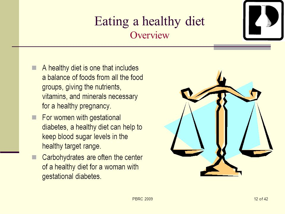 Eating a healthy diet Overview