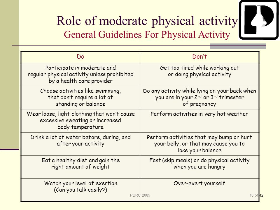 Role of moderate physical activity General Guidelines For Physical Activity
