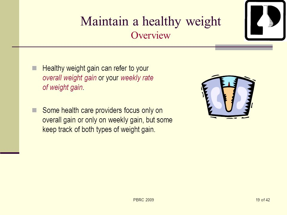 Maintain a healthy weight Overview